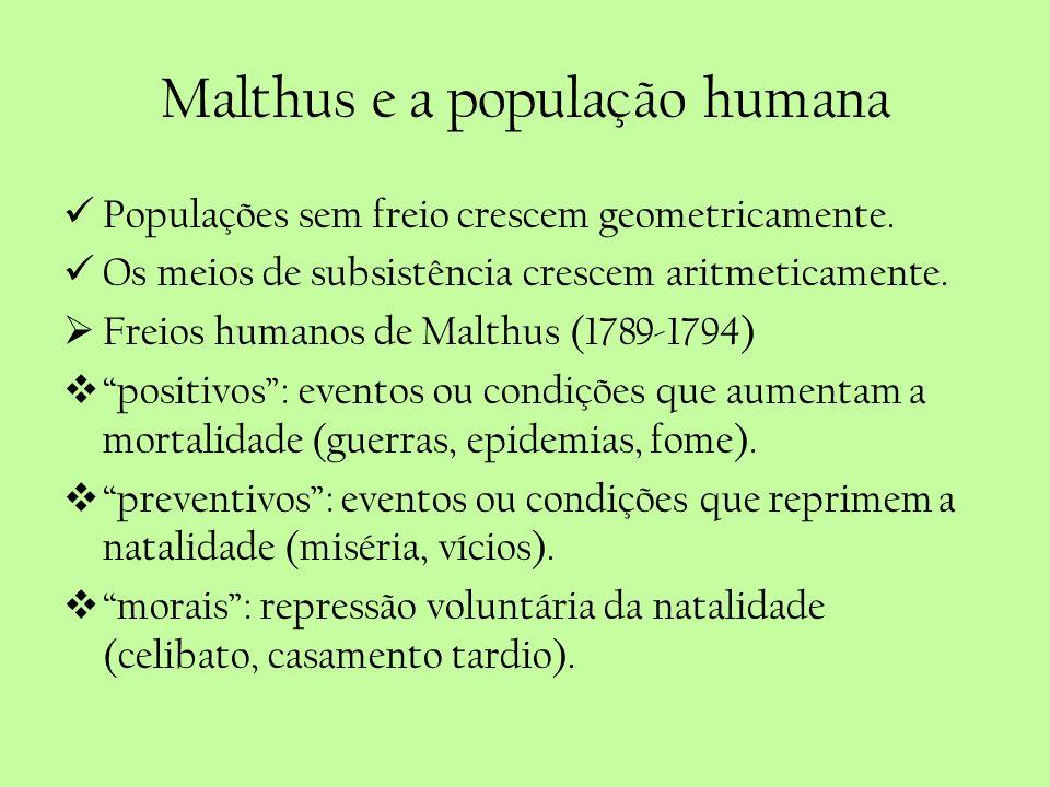Malthus e a população humana Populações sem freio crescem geometricamente. Os meios de subsistência crescem aritmeticamente. Freios humanos de Malthus