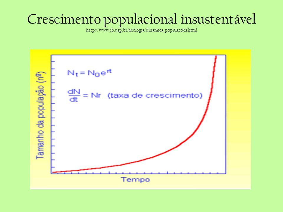 Crescimento populacional insustentável http://www.ib.usp.br/ecologia/dinamica_populacoes.html