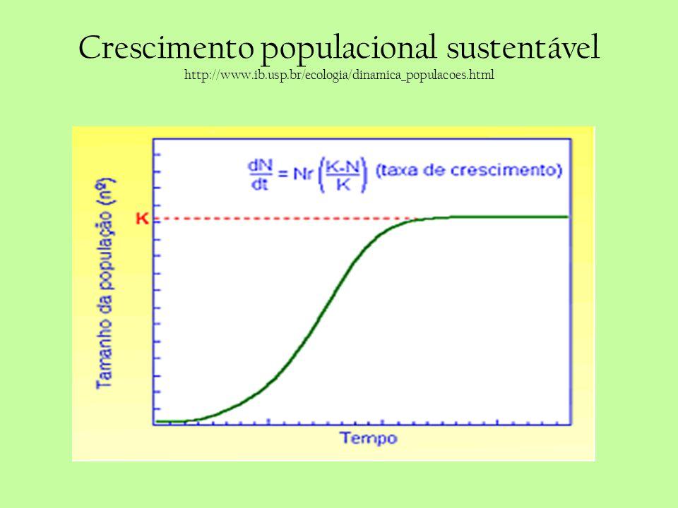 Crescimento populacional sustentável http://www.ib.usp.br/ecologia/dinamica_populacoes.html