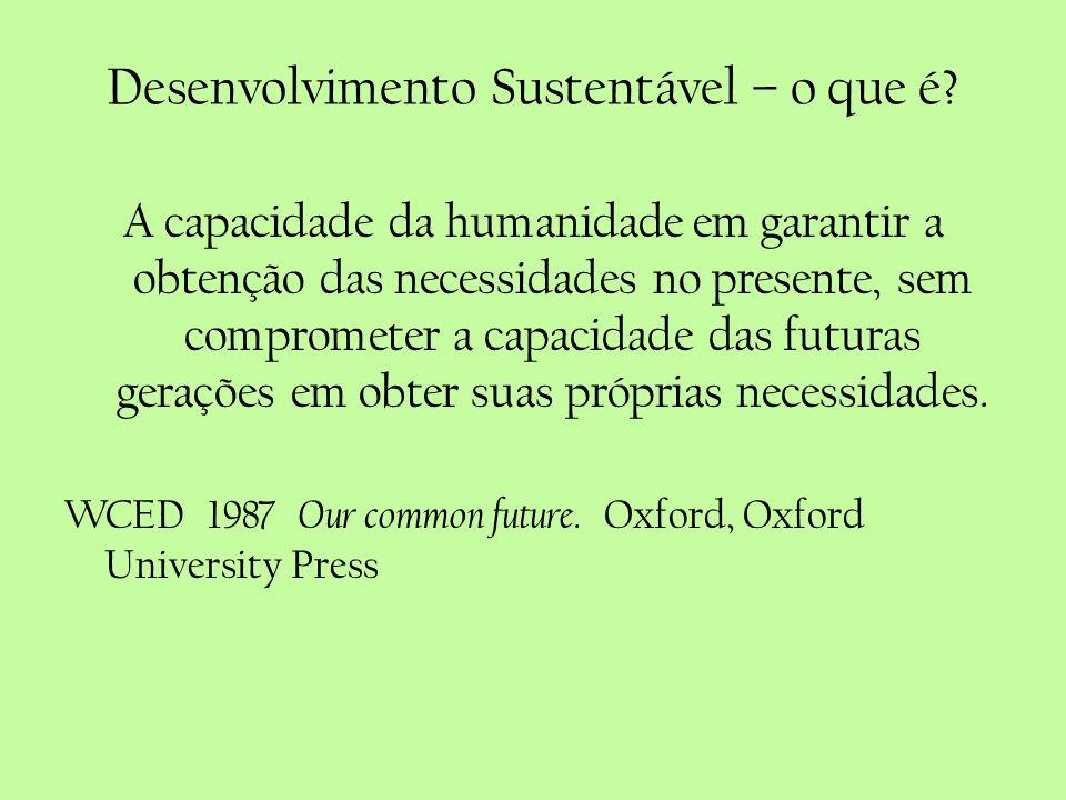 Desenvolvimento Sustentável – o que é? A capacidade da humanidade em garantir a obtenção das necessidades no presente, sem comprometer a capacidade da