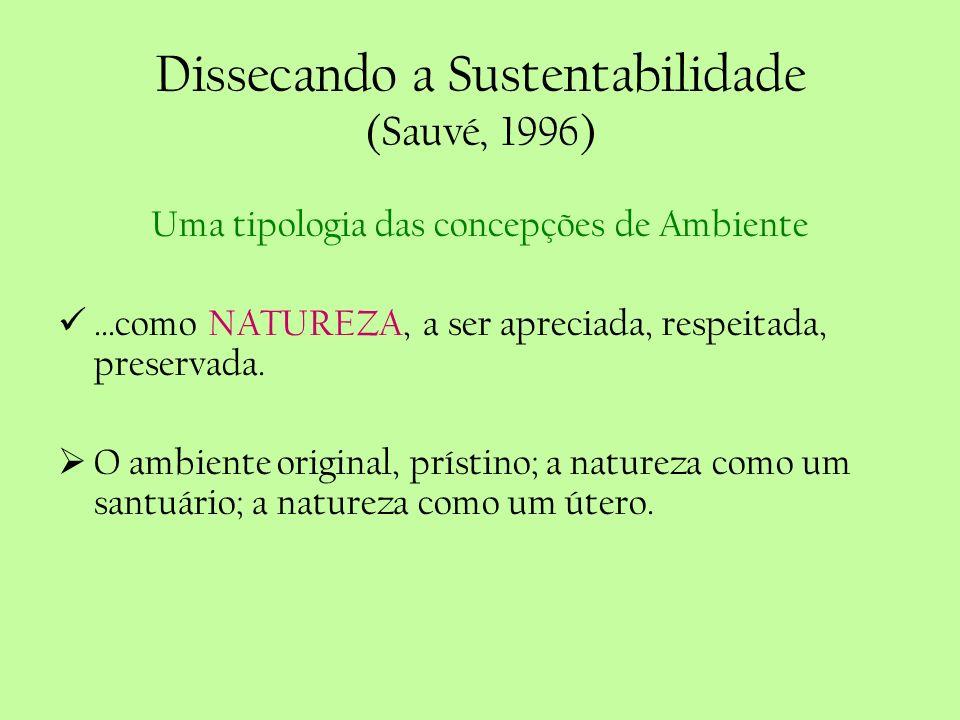 Dissecando a Sustentabilidade (Sauvé, 1996) Uma tipologia das concepções de Ambiente...como NATUREZA, a ser apreciada, respeitada, preservada. O ambie