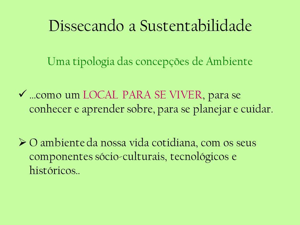 Dissecando a Sustentabilidade Uma tipologia das concepções de Ambiente...como um LOCAL PARA SE VIVER, para se conhecer e aprender sobre, para se plane