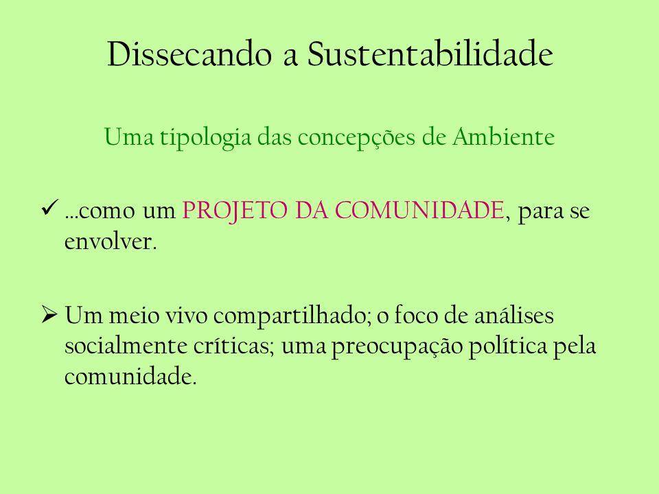 Dissecando a Sustentabilidade Uma tipologia das concepções de Ambiente...como um PROJETO DA COMUNIDADE, para se envolver. Um meio vivo compartilhado;