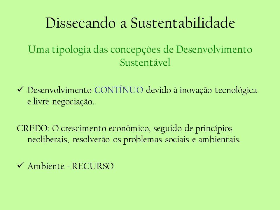 Dissecando a Sustentabilidade Uma tipologia das concepções de Desenvolvimento Sustentável Desenvolvimento CONTÍNUO devido à inovação tecnológica e liv