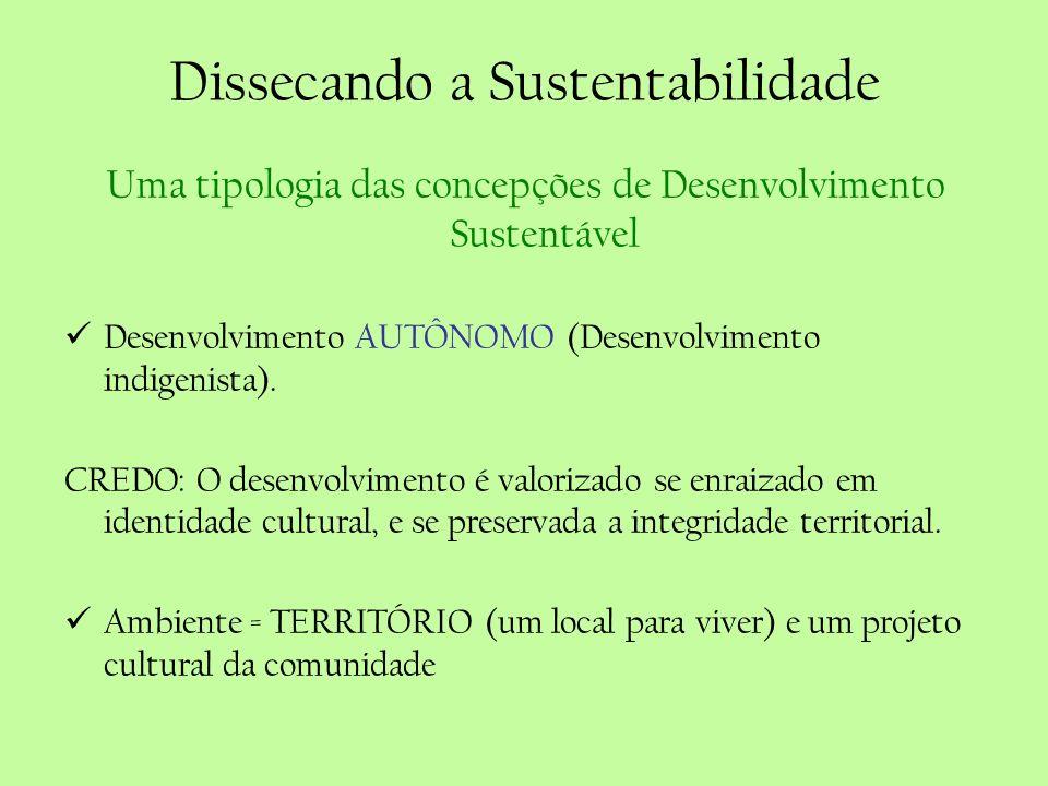 Dissecando a Sustentabilidade Uma tipologia das concepções de Desenvolvimento Sustentável Desenvolvimento AUTÔNOMO (Desenvolvimento indigenista). CRED