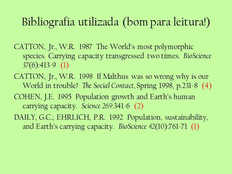 Bibliografia utilizada (bom para leitura!) CATTON, Jr., W.R. 1987 The Worlds most polymorphic species. Carrying capacity transgressed two times. BioSc