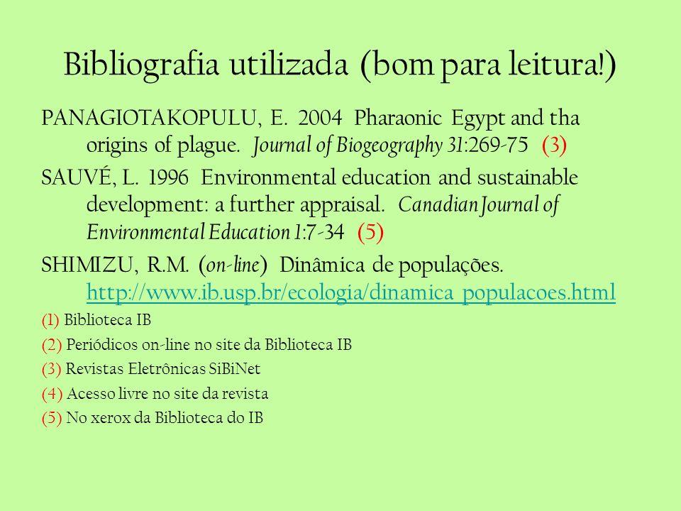 Bibliografia utilizada (bom para leitura!) PANAGIOTAKOPULU, E. 2004 Pharaonic Egypt and tha origins of plague. Journal of Biogeography 31 :269-75 (3)
