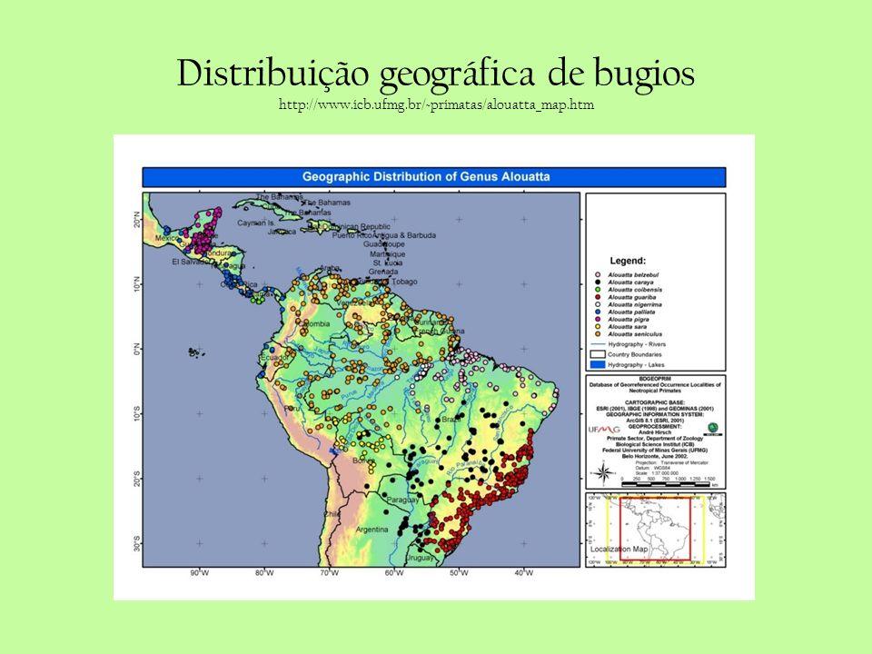 Distribuição geográfica de bugios http://www.icb.ufmg.br/~primatas/alouatta_map.htm