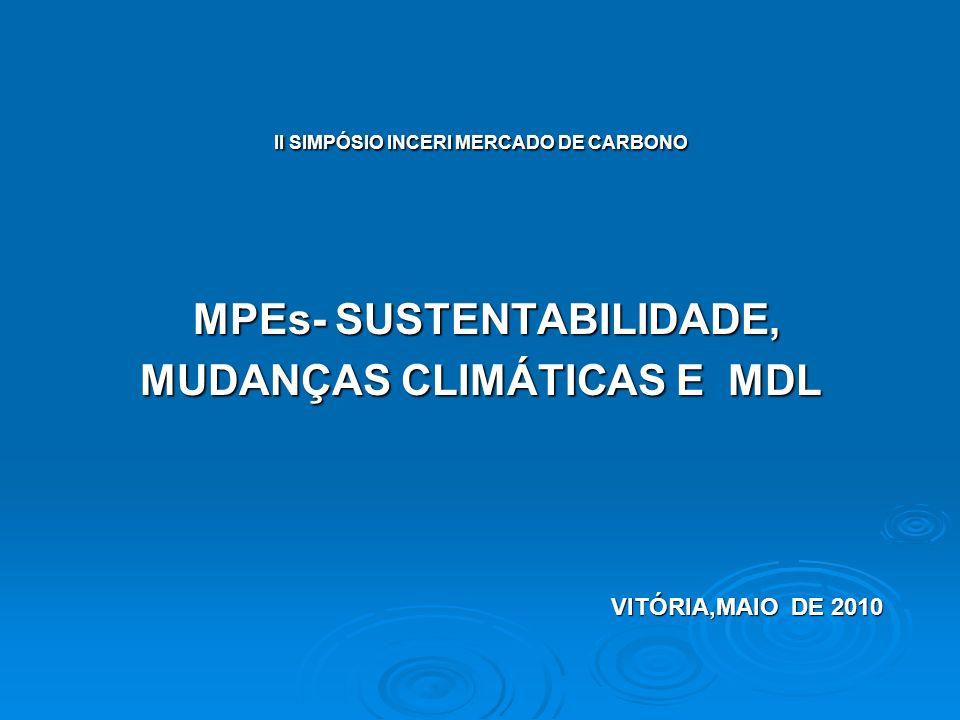II SIMPÓSIO INCERI MERCADO DE CARBONO MPEs- SUSTENTABILIDADE, MPEs- SUSTENTABILIDADE, MUDANÇAS CLIMÁTICAS E MDL VITÓRIA,MAIO DE 2010