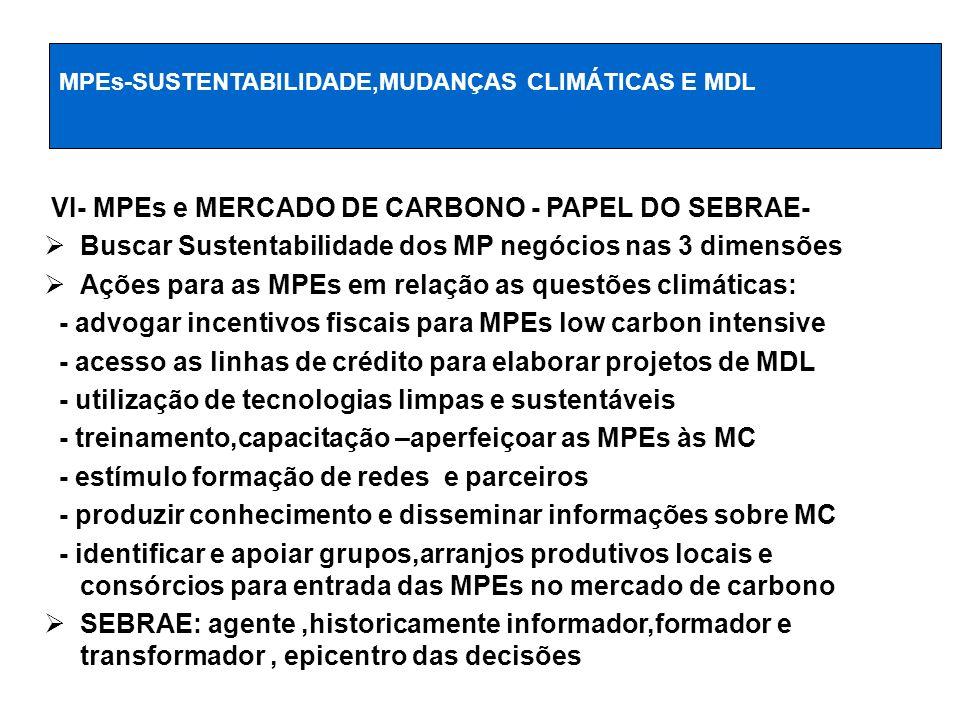 VI- MPEs e MERCADO DE CARBONO - PAPEL DO SEBRAE- Buscar Sustentabilidade dos MP negócios nas 3 dimensões Ações para as MPEs em relação as questões cli