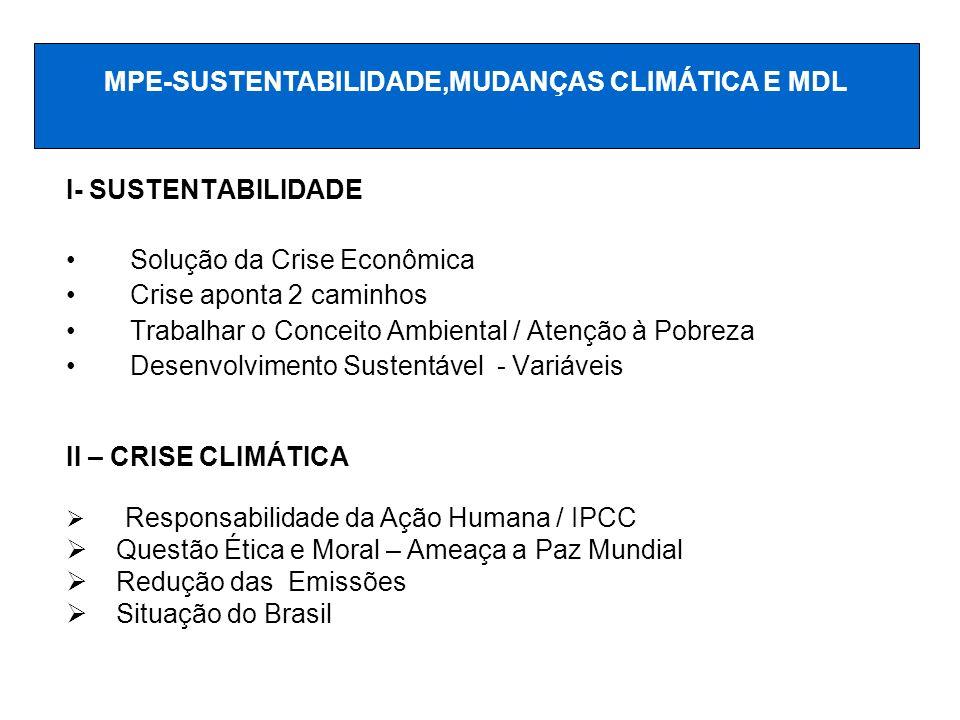 I- SUSTENTABILIDADE Solução da Crise Econômica Crise aponta 2 caminhos Trabalhar o Conceito Ambiental / Atenção à Pobreza Desenvolvimento Sustentável