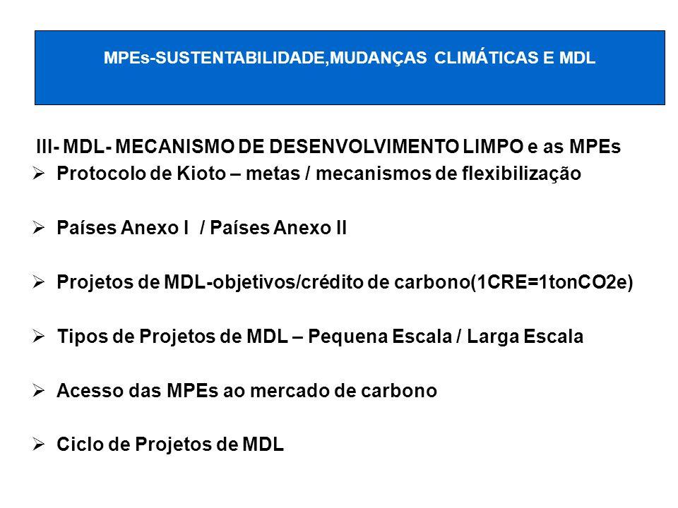 III- MDL- MECANISMO DE DESENVOLVIMENTO LIMPO e as MPEs Protocolo de Kioto – metas / mecanismos de flexibilização Países Anexo I / Países Anexo II Proj