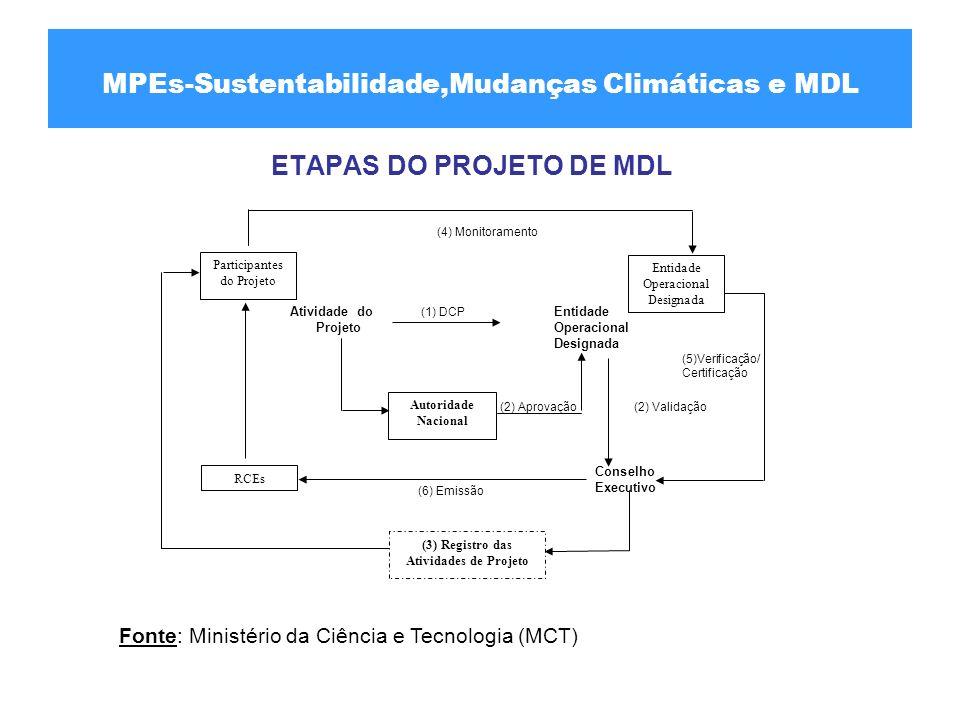 ETAPAS DO PROJETO DE MDL Participantes do Projeto Entidade Operacional Designada RCEs Autoridade Nacional (3) Registro das Atividades de Projeto Ativi