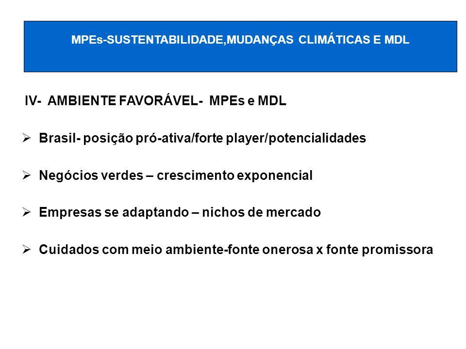 IV- AMBIENTE FAVORÁVEL- MPEs e MDL Brasil- posição pró-ativa/forte player/potencialidades Negócios verdes – crescimento exponencial Empresas se adapta