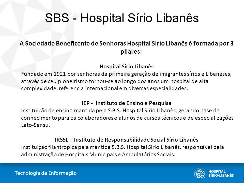 SBS - Hospital Sírio Libanês A Sociedade Beneficente de Senhoras Hospital Sírio Libanês é formada por 3 pilares: Hospital Sírio Libanês Fundado em 192