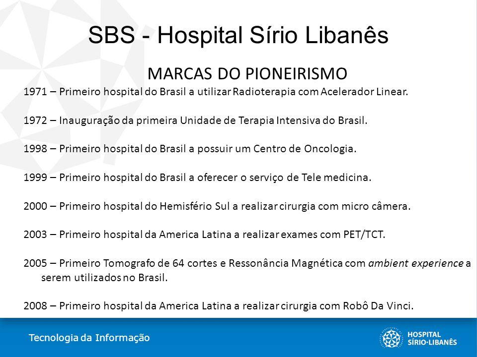 SBS - Hospital Sírio Libanês MARCAS DO PIONEIRISMO 1971 – Primeiro hospital do Brasil a utilizar Radioterapia com Acelerador Linear. 1972 – Inauguraçã