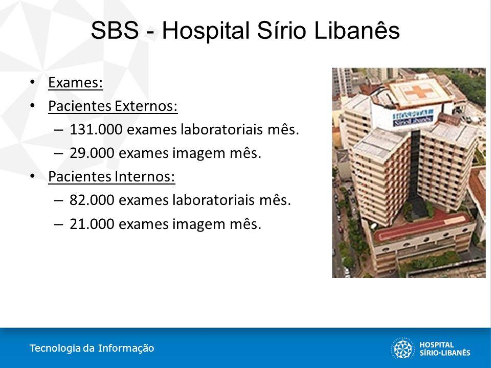 SBS - Hospital Sírio Libanês Exames: Pacientes Externos: – 131.000 exames laboratoriais mês. – 29.000 exames imagem mês. Pacientes Internos: – 82.000