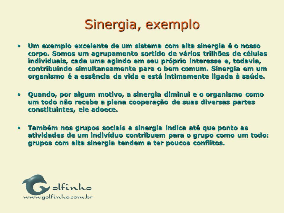 Sinergia, exemplo Um exemplo excelente de um sistema com alta sinergia é o nosso corpo. Somos um agrupamento sortido de vários trilhões de células ind