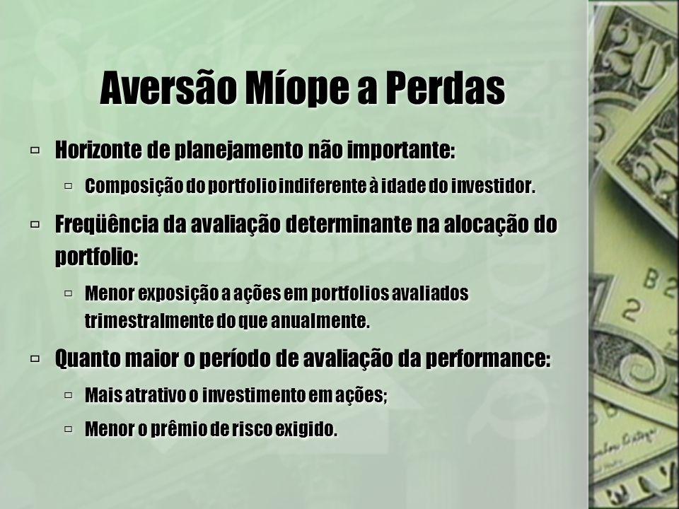 Aversão Míope a Perdas Horizonte de planejamento não importante: Composição do portfolio indiferente à idade do investidor. Freqüência da avaliação de