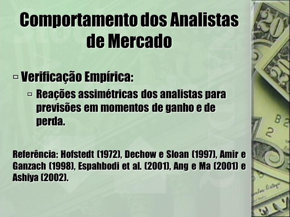 Comportamento dos Analistas de Mercado Verificação Empírica: Reações assimétricas dos analistas para previsões em momentos de ganho e de perda. Referê