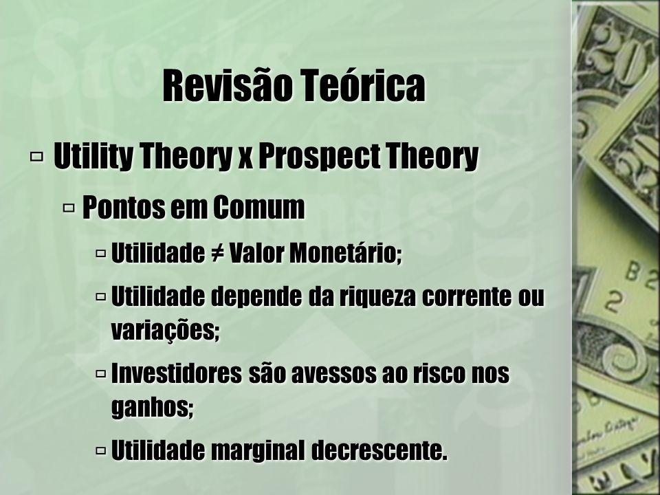 Revisão teórica - Diferenças Utility Theory Utilidade depende da riqueza total final; Utilidade esperada depende das probabilidades de cada estado; Investidor é sempre avesso ao risco.