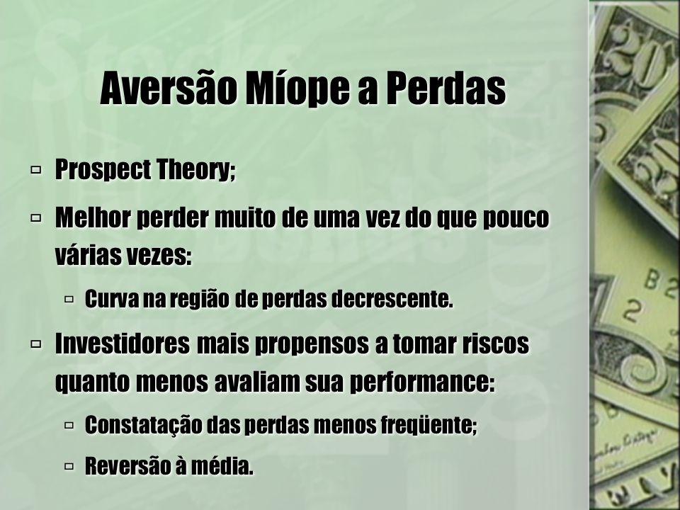 Aversão Míope a Perdas Horizonte de planejamento não importante: Composição do portfolio indiferente à idade do investidor.