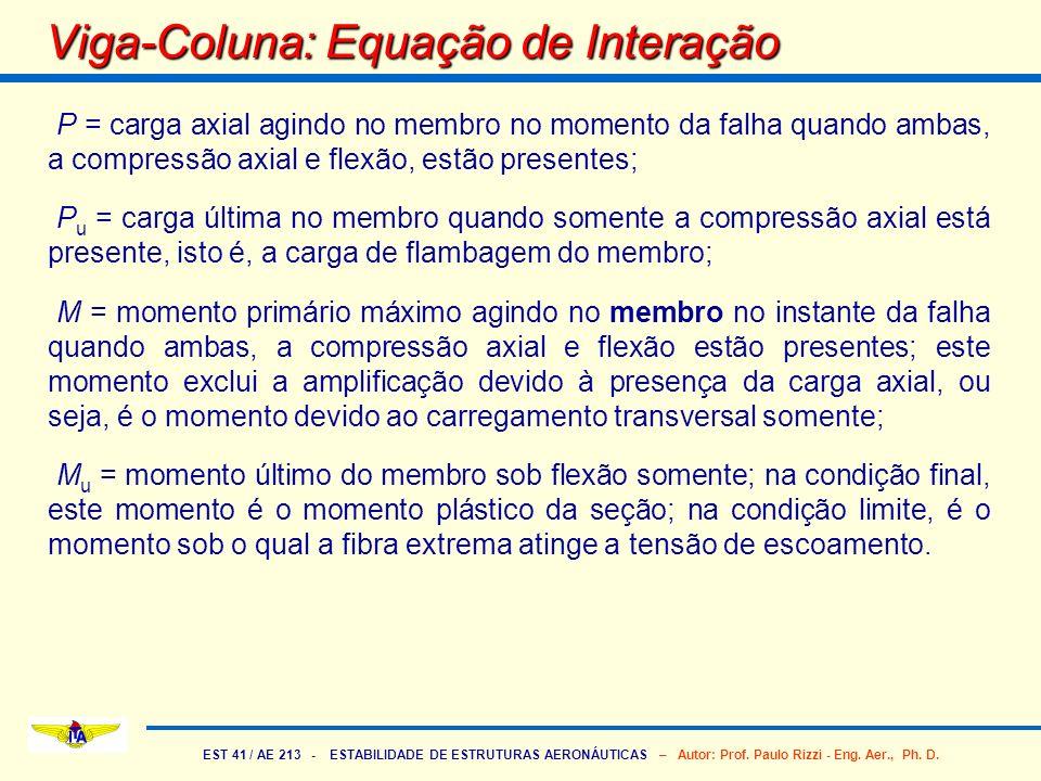EST 41 / AE 213 - ESTABILIDADE DE ESTRUTURAS AERONÁUTICAS – Autor: Prof. Paulo Rizzi - Eng. Aer., Ph. D. P = carga axial agindo no membro no momento d