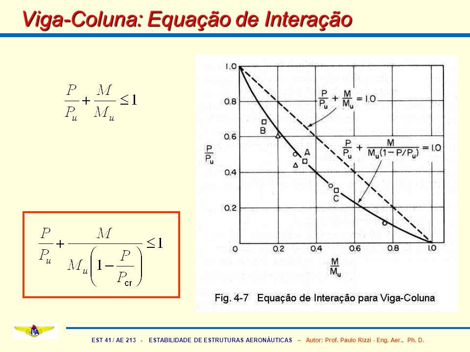 EST 41 / AE 213 - ESTABILIDADE DE ESTRUTURAS AERONÁUTICAS – Autor: Prof. Paulo Rizzi - Eng. Aer., Ph. D. Viga-Coluna: Equação de Interação