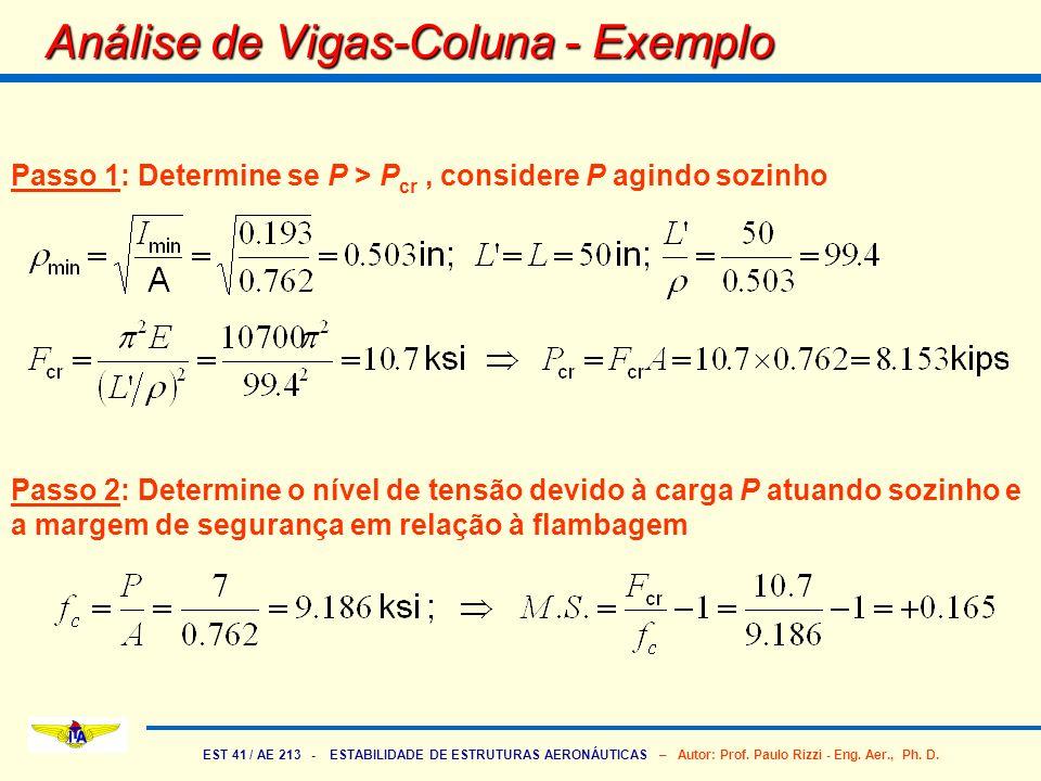 EST 41 / AE 213 - ESTABILIDADE DE ESTRUTURAS AERONÁUTICAS – Autor: Prof. Paulo Rizzi - Eng. Aer., Ph. D. Análise de Vigas-Coluna - Exemplo Passo 1: De