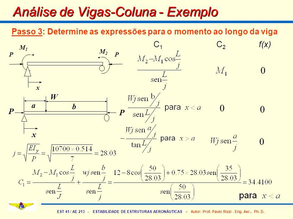 EST 41 / AE 213 - ESTABILIDADE DE ESTRUTURAS AERONÁUTICAS – Autor: Prof. Paulo Rizzi - Eng. Aer., Ph. D. Análise de Vigas-Coluna - Exemplo Passo 3: De
