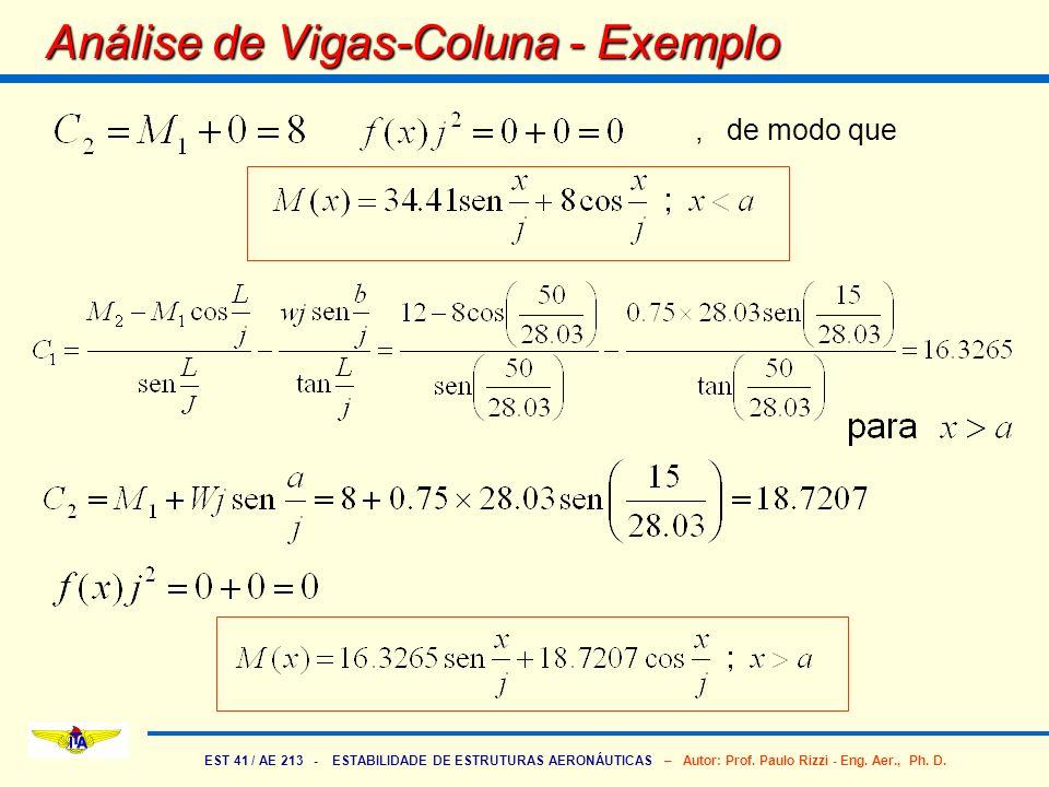 EST 41 / AE 213 - ESTABILIDADE DE ESTRUTURAS AERONÁUTICAS – Autor: Prof. Paulo Rizzi - Eng. Aer., Ph. D. Análise de Vigas-Coluna - Exemplo, de modo qu
