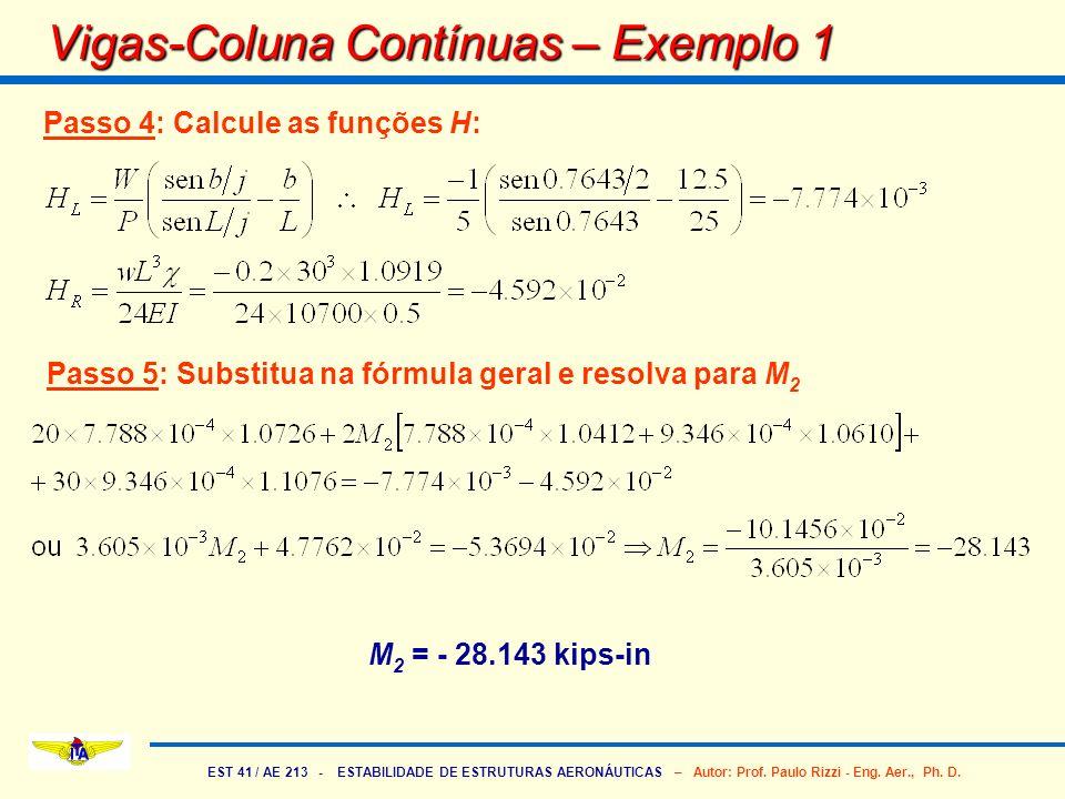 EST 41 / AE 213 - ESTABILIDADE DE ESTRUTURAS AERONÁUTICAS – Autor: Prof. Paulo Rizzi - Eng. Aer., Ph. D. Vigas-Coluna Contínuas – Exemplo 1 M 2 = - 28