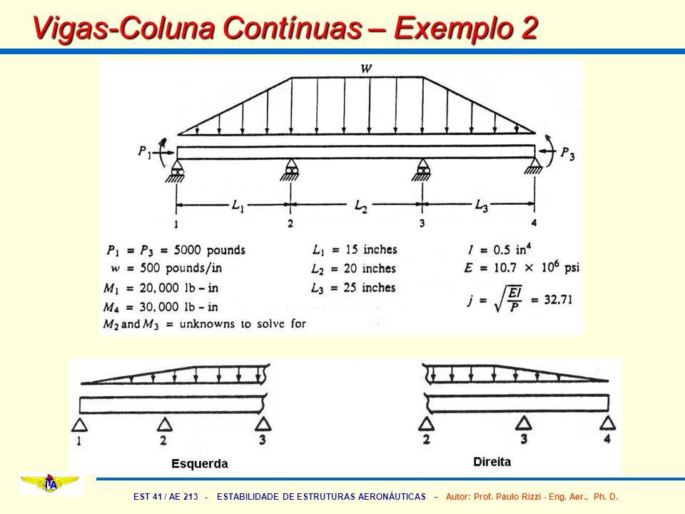 EST 41 / AE 213 - ESTABILIDADE DE ESTRUTURAS AERONÁUTICAS – Autor: Prof. Paulo Rizzi - Eng. Aer., Ph. D. Vigas-Coluna Contínuas – Exemplo 2