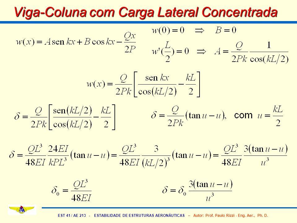 EST 41 / AE 213 - ESTABILIDADE DE ESTRUTURAS AERONÁUTICAS – Autor: Prof. Paulo Rizzi - Eng. Aer., Ph. D. Viga-Coluna com Carga Lateral Concentrada