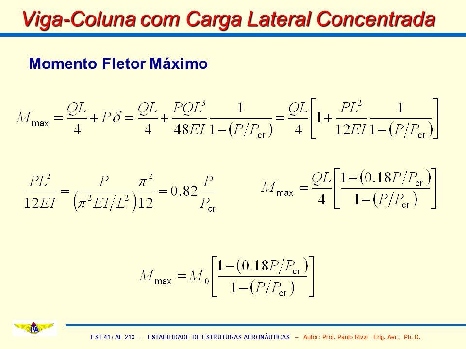 EST 41 / AE 213 - ESTABILIDADE DE ESTRUTURAS AERONÁUTICAS – Autor: Prof. Paulo Rizzi - Eng. Aer., Ph. D. Viga-Coluna com Carga Lateral Concentrada Mom
