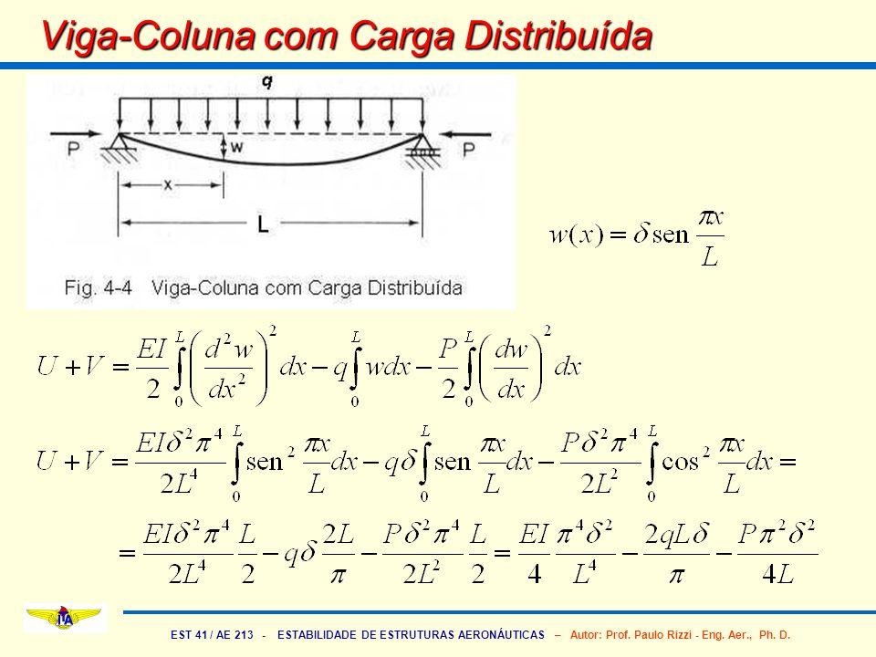 EST 41 / AE 213 - ESTABILIDADE DE ESTRUTURAS AERONÁUTICAS – Autor: Prof. Paulo Rizzi - Eng. Aer., Ph. D. Viga-Coluna com Carga Distribuída