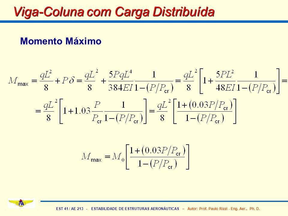 EST 41 / AE 213 - ESTABILIDADE DE ESTRUTURAS AERONÁUTICAS – Autor: Prof. Paulo Rizzi - Eng. Aer., Ph. D. Viga-Coluna com Carga Distribuída Momento Máx