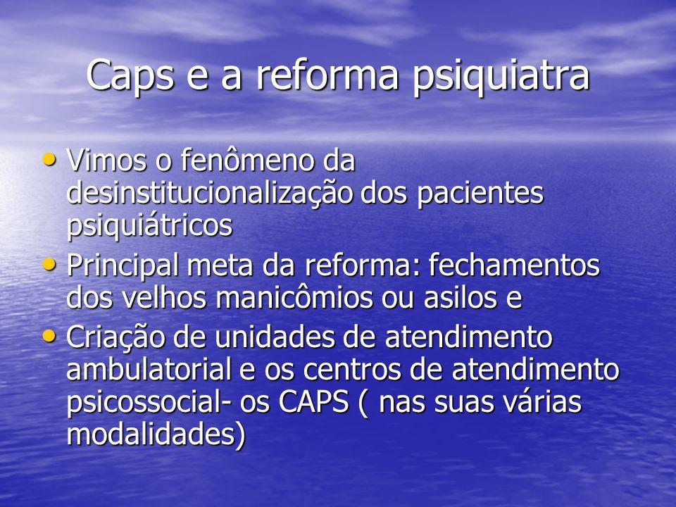 Caps e a reforma psiquiatra Vimos o fenômeno da desinstitucionalização dos pacientes psiquiátricos Vimos o fenômeno da desinstitucionalização dos paci