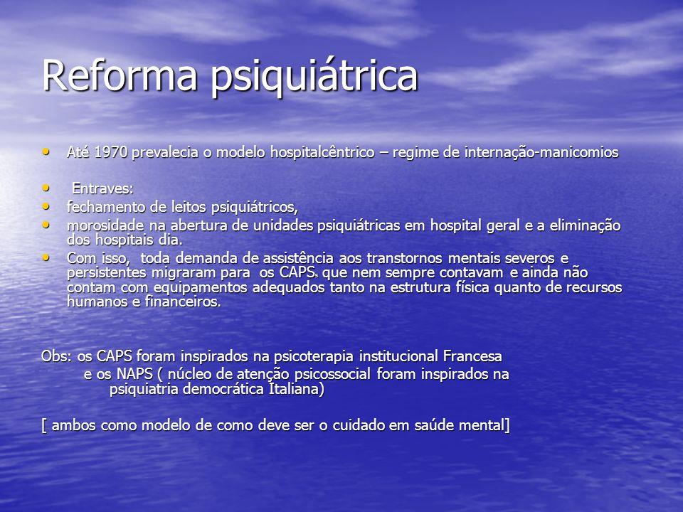 Reforma psiquiátrica Até 1970 prevalecia o modelo hospitalcêntrico – regime de internação-manicomios Até 1970 prevalecia o modelo hospitalcêntrico – r