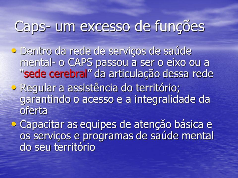 Caps- um excesso de funções Dentro da rede de serviços de saúde mental- o CAPS passou a ser o eixo ou asede cerebral da articulação dessa rede Dentro