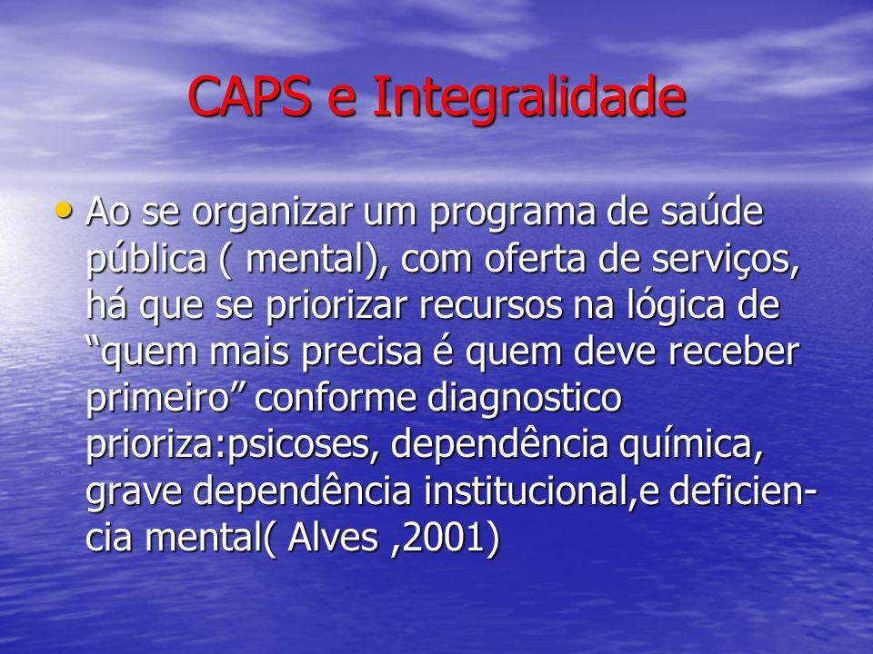 CAPS e Integralidade Ao se organizar um programa de saúde pública ( mental), com oferta de serviços, há que se priorizar recursos na lógica de quem ma