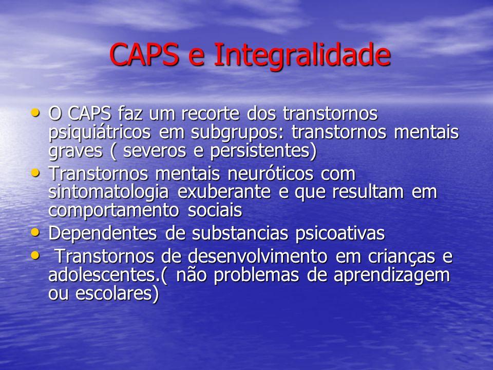 CAPS e Integralidade O CAPS faz um recorte dos transtornos psiquiátricos em subgrupos: transtornos mentais graves ( severos e persistentes) O CAPS faz