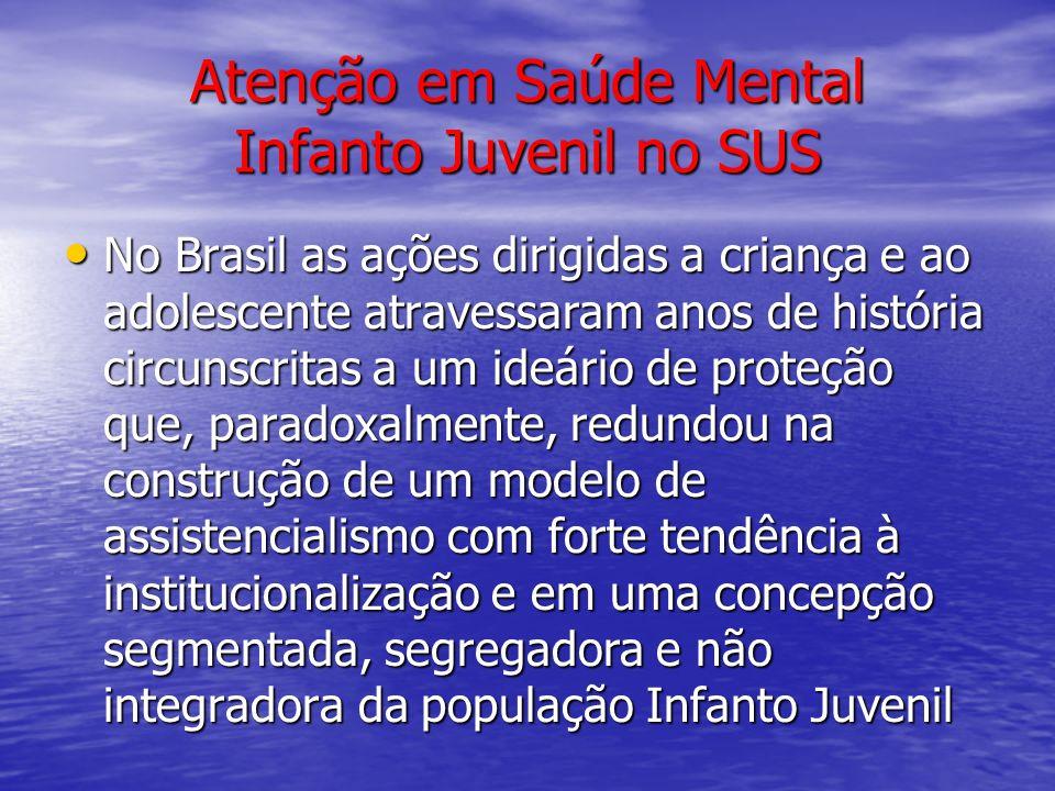 Atenção em Saúde Mental Infanto Juvenil no SUS No Brasil as ações dirigidas a criança e ao adolescente atravessaram anos de história circunscritas a u