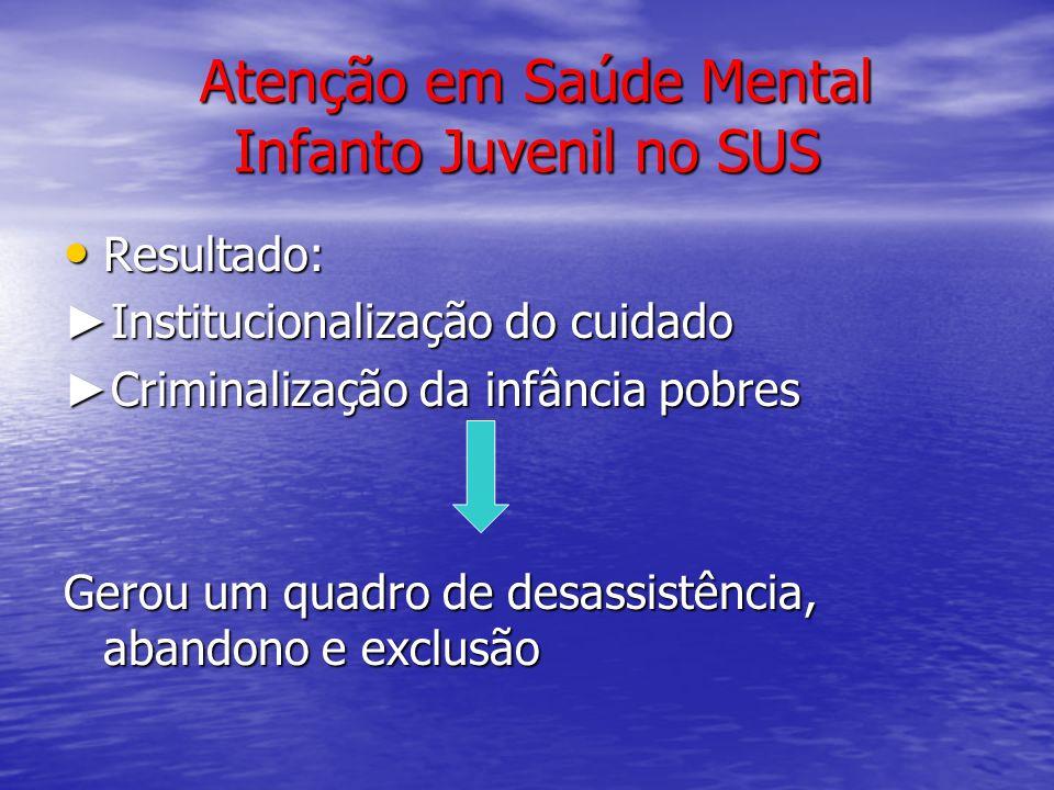 Atenção em Saúde Mental Infanto Juvenil no SUS Atenção em Saúde Mental Infanto Juvenil no SUS Resultado: Resultado: Institucionalização do cuidado Ins