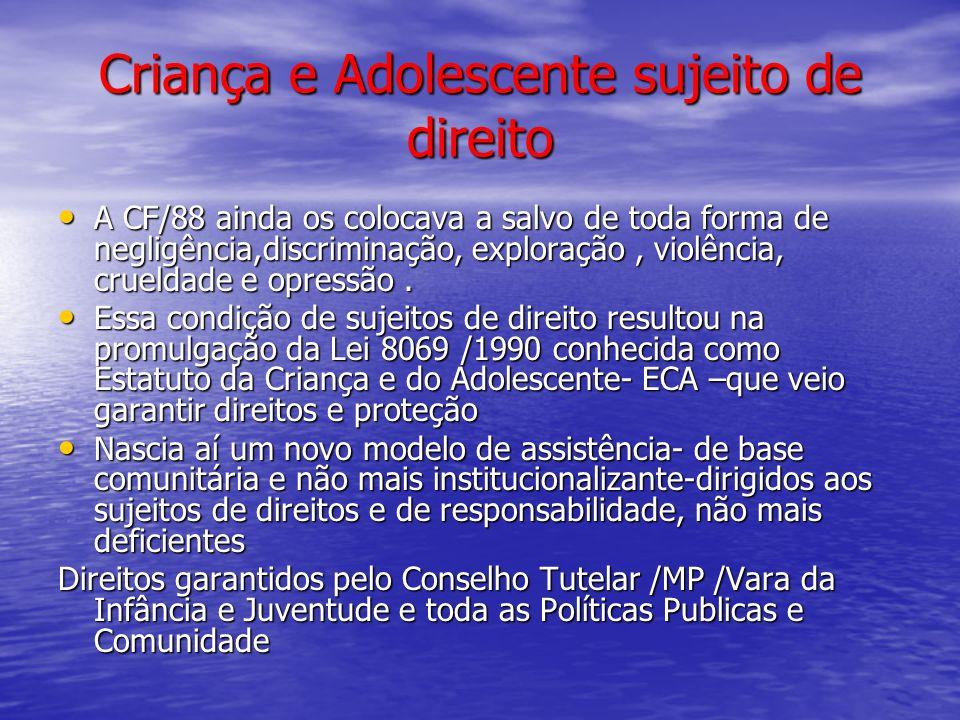 Criança e Adolescente sujeito de direito A CF/88 ainda os colocava a salvo de toda forma de negligência,discriminação, exploração, violência, crueldad