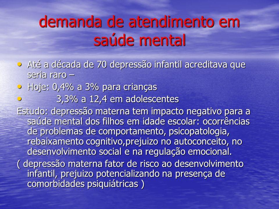 demanda de atendimento em saúde mental Até a década de 70 depressão infantil acreditava que seria raro – Até a década de 70 depressão infantil acredit