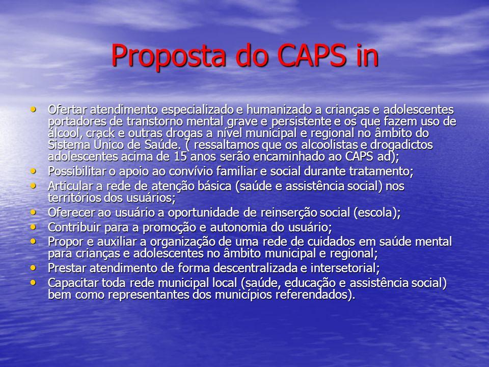 Proposta do CAPS in Ofertar atendimento especializado e humanizado a crianças e adolescentes portadores de transtorno mental grave e persistente e os