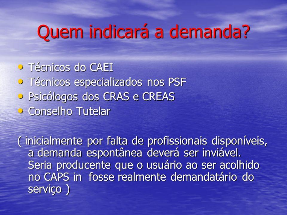 Quem indicará a demanda? Técnicos do CAEI Técnicos do CAEI Técnicos especializados nos PSF Técnicos especializados nos PSF Psicólogos dos CRAS e CREAS