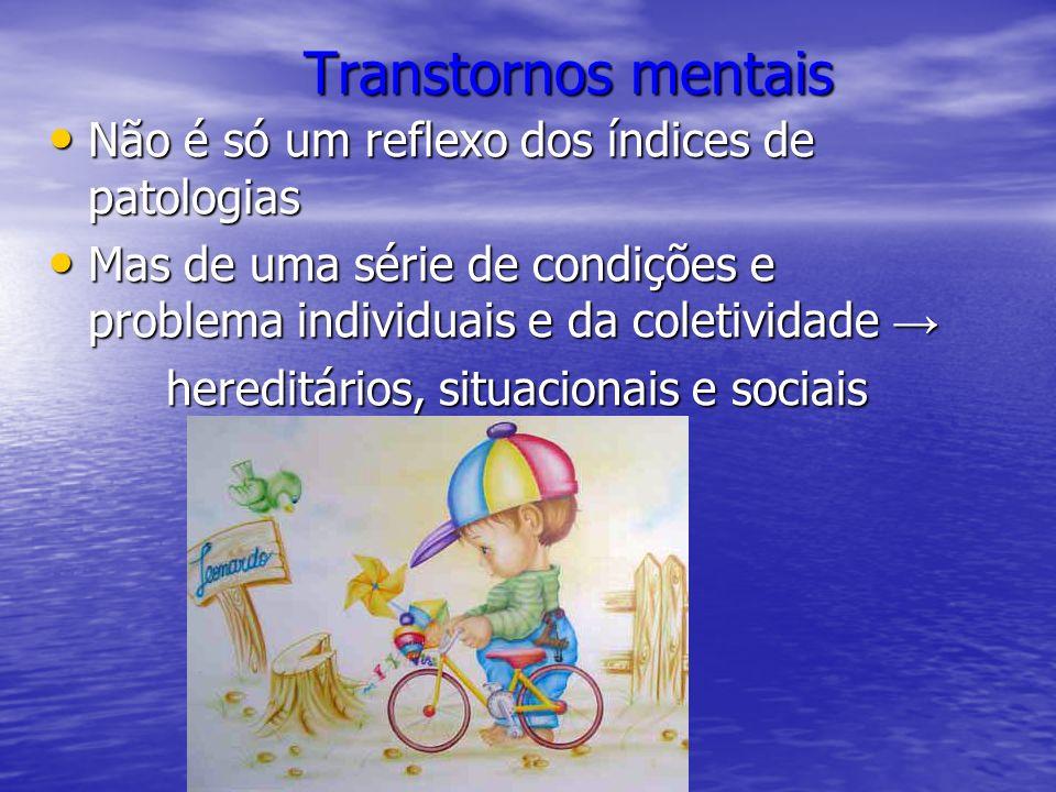 Transtornos mentais Transtornos mentais Não é só um reflexo dos índices de patologias Não é só um reflexo dos índices de patologias Mas de uma série d