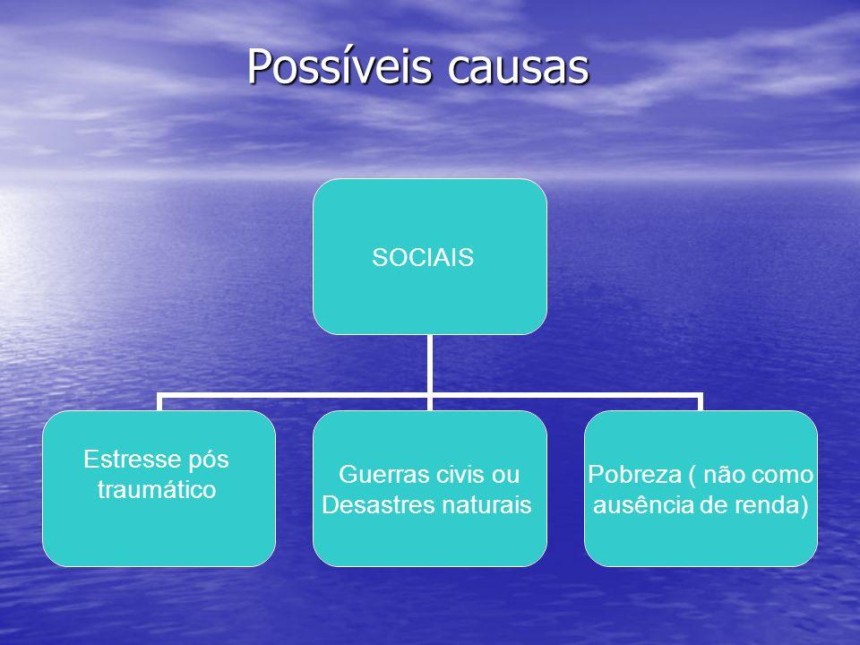 Possíveis causas Possíveis causas SOCIAIS Estresse pós traumático Guerras civis ou Desastres naturais Pobreza ( não como ausência de renda)